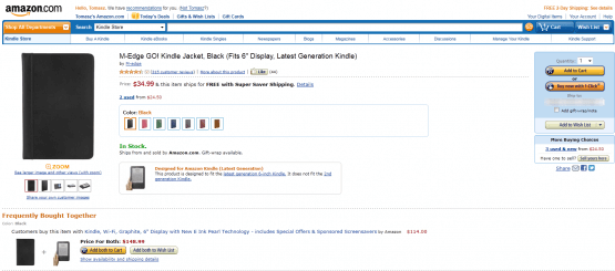 Obowiązkowo kupujemy od razu cover. Kindle niewygodnie czyta się i użytkuje bez odpowiedniego futerału. Te, które oferowane są na Allegro nie dość, że są droższe od oryginalnych z Amazon, to w dodatku jakościowo i funkcjonalnie odstają od nich. NIE kupujemy futerałów na allegro. Powyższy model polecam. Jest lekki, wytrzymały, ładny i co ważne – Kindle trzyma się w nim na gumkach, co jest i wygodne i estetyczne. Klikamy Add to Cart , a następnie wchodzimy do naszego koszyka.