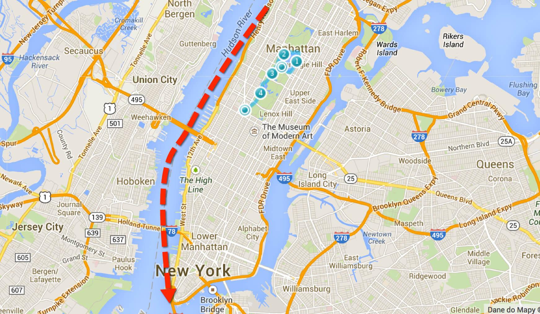A tu na czerwono trasa dzisiejszego biegu. Początek na granicy Manhattanu z Harlemem. Koniec – czubek wyspy.