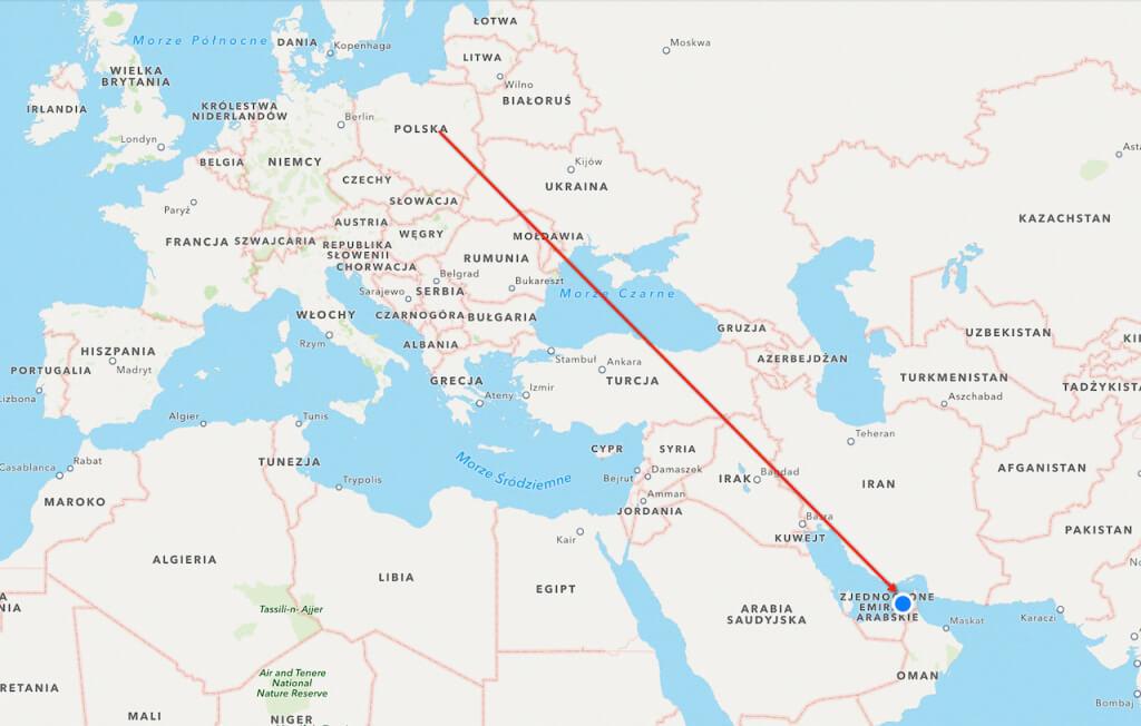 Z geografii wszyscy jesteśmy najlepsi, ale nie zaszkodzi przypomnieć. Polska (u góry), Dubaj (na dole). Jasne?