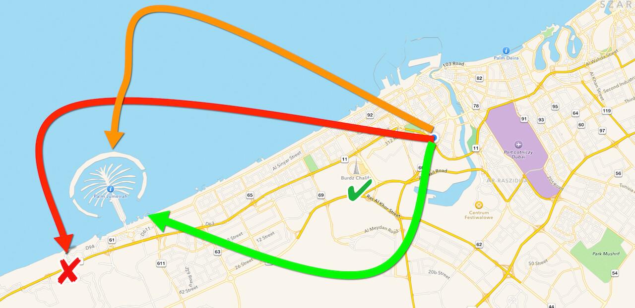 Czerwona strzałka oznacza miejsce, w którym dziś jesteśmy. To prawie sam koniec Dubaju, jakieś 30 km od mojego hotelu. Pomarańczowa oznacza wyspę palmową, do której miałem nadzieję dziś dojść, ale okazało się, że to kompletnie nei ten teren. Nawet skrawka nie zobaczyłem. Zielona strzałka oznacza również miejsce, do którego miałem dojść. Ten słynny hotel al-Arab. Jego z kolei widziałem z metra. Jakieś 10 minut jazdy od mariny. Pomarańczowy i zielony cel jest na jutro. Pójdę tam w dzień.