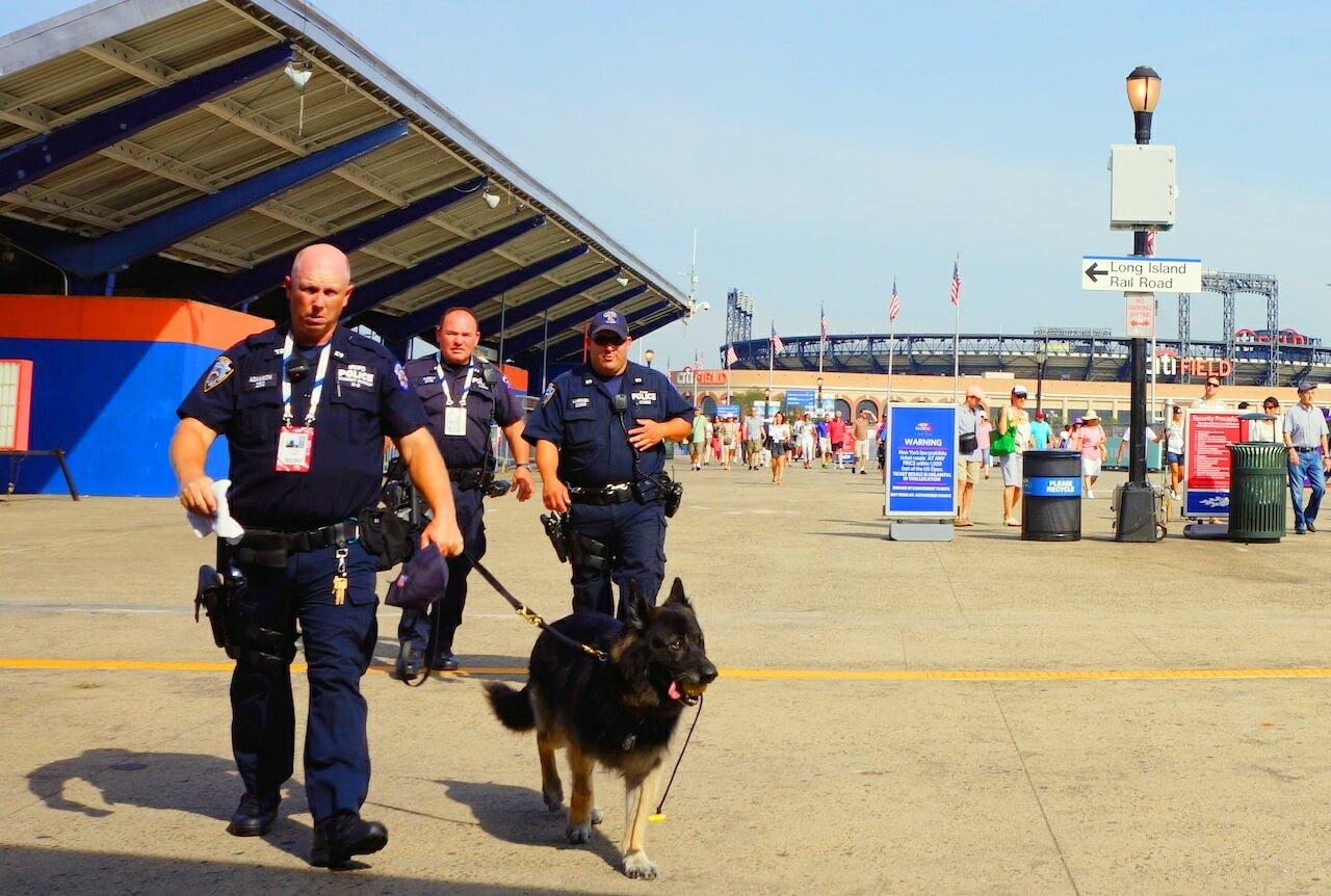 Policjanci wyglądają tak jak można sobie wyobrazić amerykańskiego policjanta. Psa też mają i o niego dbają. Cały czas chodził z piłeczką w gębie. Prawdopodobnie to taki aparat nazębny.