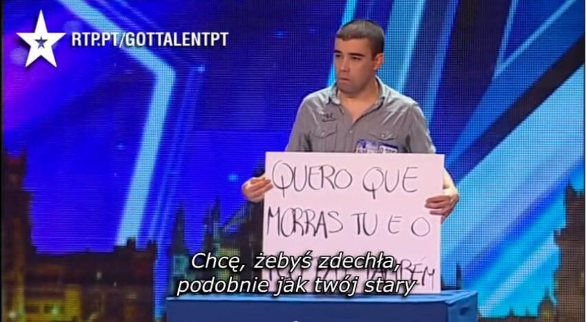 Wiadomosc dla bylej dziewczyny w portugalskim Mam Talent